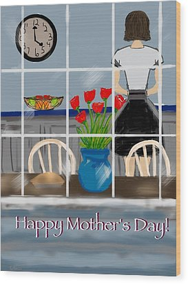 Wood Print featuring the digital art Happy Homemaker by Christine Fournier