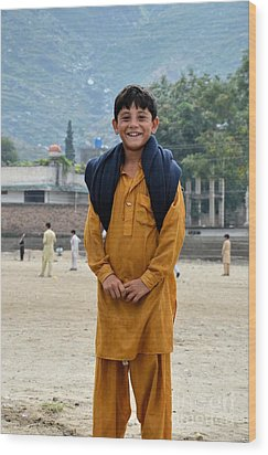 Wood Print featuring the photograph Happy Laughing Pathan Boy In Swat Valley Pakistan by Imran Ahmed