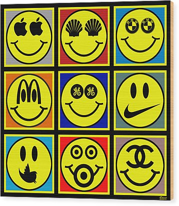 Happy Logos Wood Print by Tony Rubino