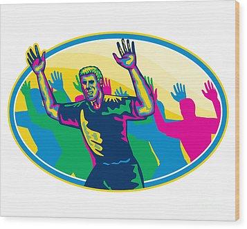 Happy Marathon Runner Running Oval Retro Wood Print by Aloysius Patrimonio