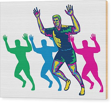Happy Marathon Runner Running Retro Wood Print by Aloysius Patrimonio