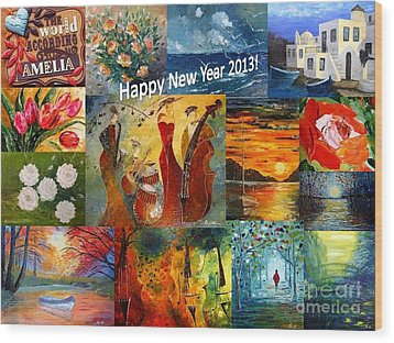 Happy New Year 2013 Wood Print by AmaS Art