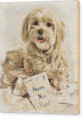 Maltese Happy New Year Wood Print