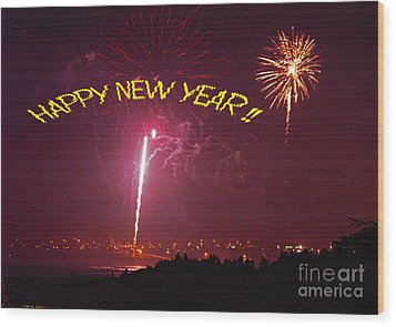 happy New Year fireworks Wood Print by Gary Brandes