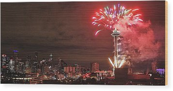 Happy New Year Seattle Wood Print by Benjamin Yeager