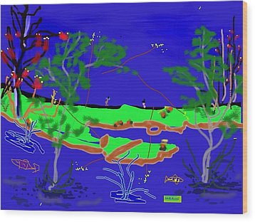 Happy Peninsula Digital Painting Wood Print by Colette Dumont