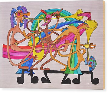Happy People Horns Wood Print by Glenn Calloway