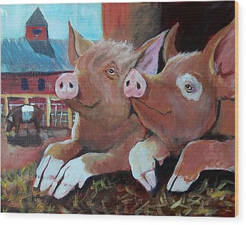 Happy Pigs Wood Print by Dona Davis