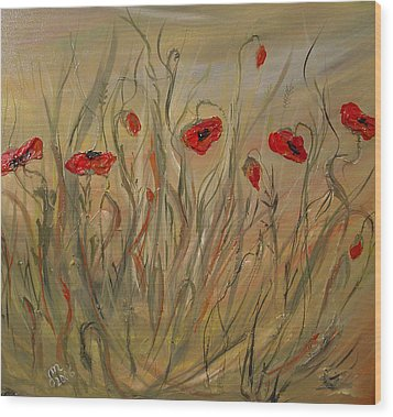 Wood Print featuring the painting Happy Poppies by Dorothy Maier