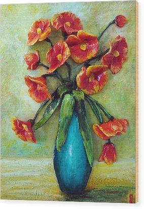 Happy Poppies Wood Print