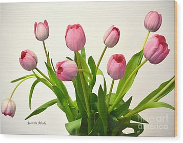 Wood Print featuring the digital art Happy Spring Pink Tulips 2 by Jeannie Rhode