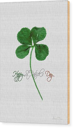 Happy St. Patrick's Day 4 Leaf Clover Wood Print