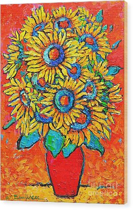 Happy Sunflowers Wood Print