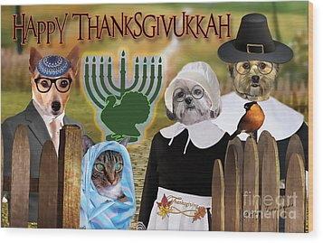 Happy Thanksgivukkah -1 Wood Print