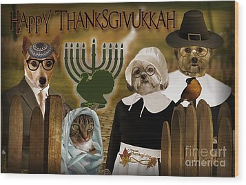 Wood Print featuring the digital art Happy Thanksgivukkah -4 by Kathy Tarochione