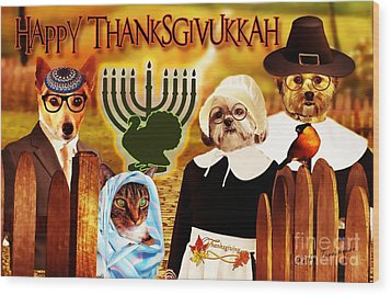 Wood Print featuring the digital art Happy Thanksgivukkah -5 by Kathy Tarochione