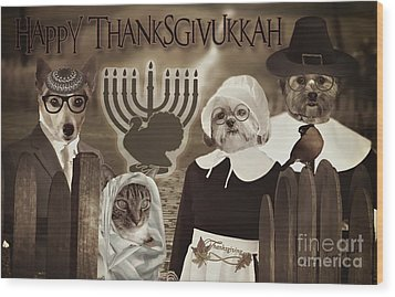 Wood Print featuring the digital art Happy Thanksgivukkah -6 by Kathy Tarochione