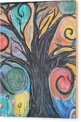 Happy Tree Wood Print by Sarah Dufner