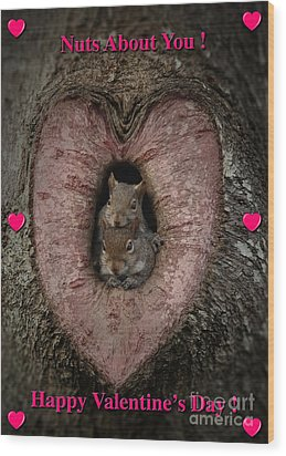 Happy Valentine Squirrels Wood Print by D Wallace