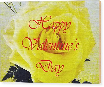 Happy Valentine's Day Wood Print by Barbie Corbett-Newmin