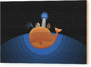 Happy Whale House Wood Print by Gianfranco Weiss