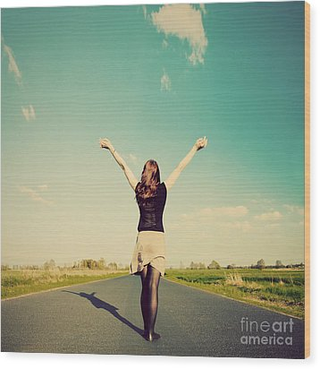 Happy Woman Standing On Empty Road Retro Vintage Style Wood Print by Michal Bednarek