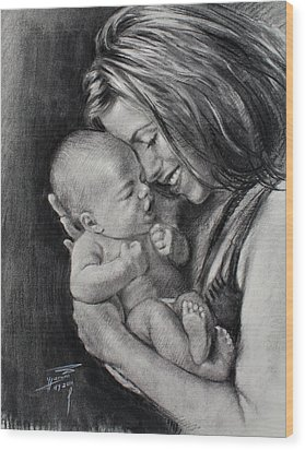 Happy Young Mother Wood Print by Ylli Haruni