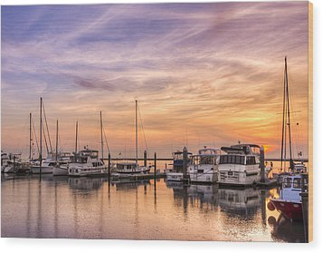 Harbor At Jekyll Island Wood Print by Debra and Dave Vanderlaan