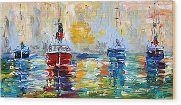 Harbor Boats At Sunrise Wood Print by Karen Tarlton