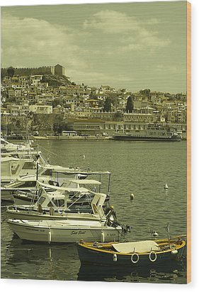 Wood Print featuring the photograph Harbor Boats In Kavala Greece by Tamyra Crossley