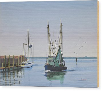 Harbor Days End Wood Print