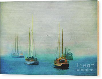 Harbor Fog Wood Print by Darren Fisher