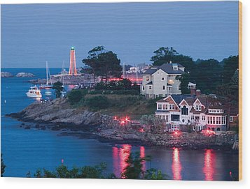 Marblehead Harbor Illumination Wood Print
