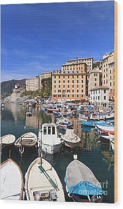 harbor in Camogli - Italy Wood Print