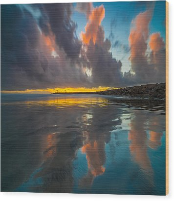 Harbor Jetty Reflections Square Wood Print by Larry Marshall