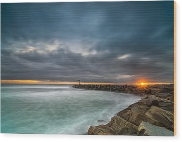 Harbor Jetty Sunset Wood Print by Larry Marshall