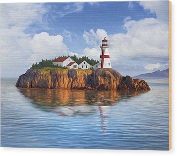 Harbor Light Wood Print by James Charles
