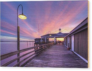 Harbor Lights Wood Print by Debra and Dave Vanderlaan
