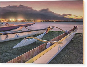 Harbor Lights Wood Print by Hawaii  Fine Art Photography