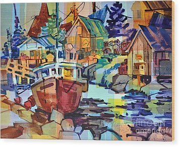 Harbor Glow Wood Print by Roger Parent