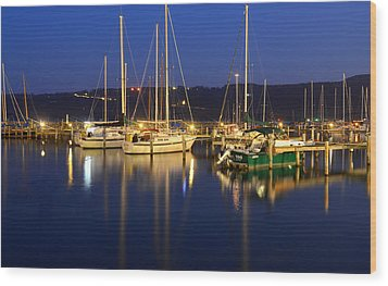 Harbor Nights Wood Print by Frozen in Time Fine Art Photography