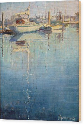 Harbor Reflection Wood Print by Sharon Weaver