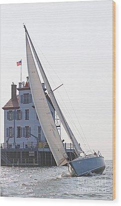 Harbor Sailing Two Wood Print