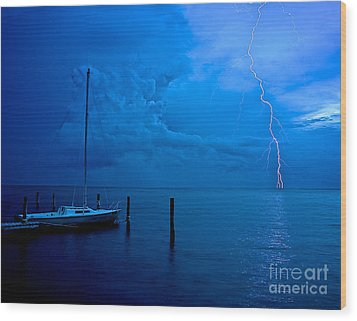 Harbor Storm Wood Print by Mark Miller