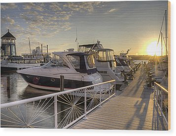 Wood Print featuring the photograph Harbor Sunrise by Michael Donahue
