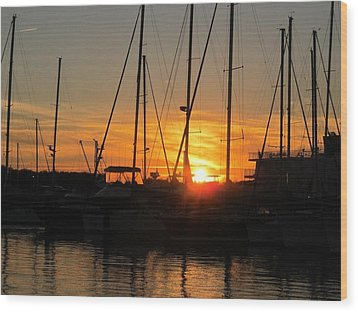 Harbor Sunset In Charleston Sc Wood Print