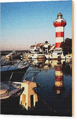 Harbor Town Lighthouse Wood Print
