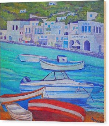 Harborfront Mykonos Wood Print