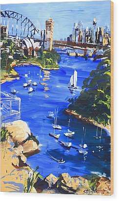 Harbour In Sun And Wind Wood Print by Shirley  Peters
