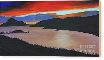 Harbour Sunset Wood Print by Barbara Griffin